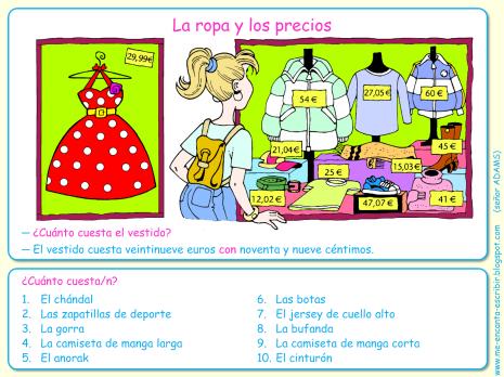 Me encanta escribir en español: de compras