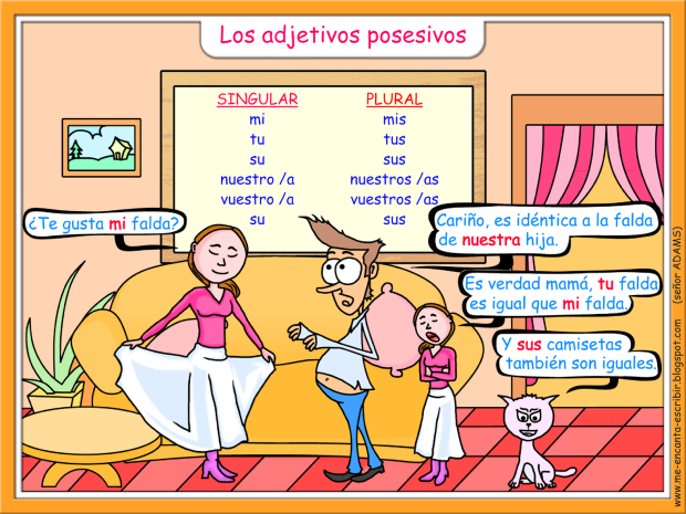Me encanta escribir en español: adjetivos posesivos